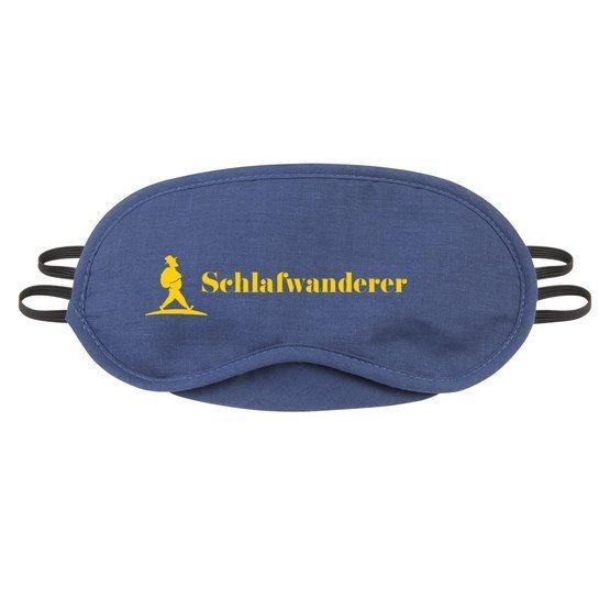 eine Schlafmaske mit Müllers Lust Wanderreisen Logo