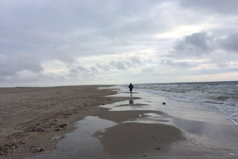 Wanderer am Strand der Nordsee